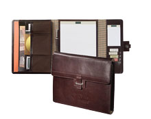 inside and outside views of mahogany leather tri-fold portfolio