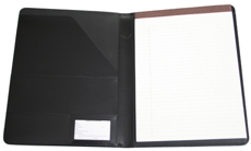 black bonded leather pad holder with letter pad