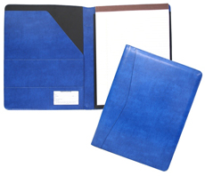 blue bonded leather padfolios with 8 1/2 x 11 pad