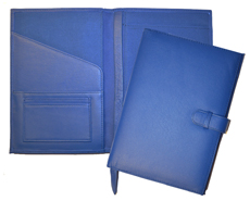 blue leather junior pafolios inside and outside views