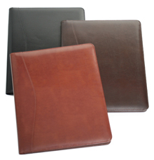 black, chestnut and british tan bonded leather business pad holders