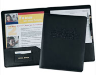 black bonded leather presentation folder with pen loop and card pocket