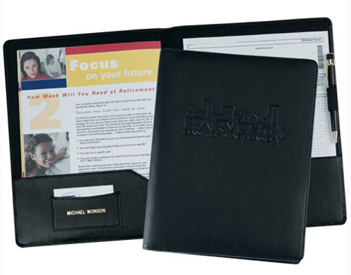 Black Bonded Leather Presentation Folder With Business Card Pocket And Pen Loop