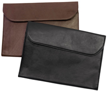 brown and black buffed cowhide leather potfolios