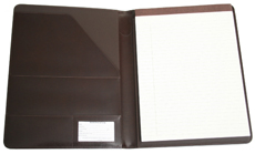 chestnut brown bonded leather padfolio inside