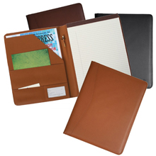 tan, navy blue and burgundy executive leather writing padfolio