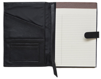 black faux leather Forever junior padfolio with ivory pad