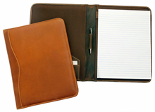 distressed tan and brown full-grain buffalo leather padfolios