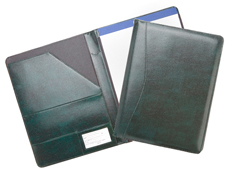 inside and outside view of green bonded leather pad holder