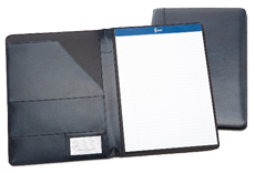 navy blue bonded leatehr pad folios with pockets