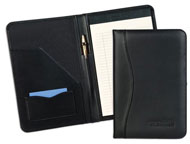 black leather junior padfolio with stitched pen holder
