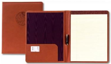 red leather padded executive desk folder