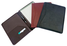 black, brown or brick red padded leather meeting folders