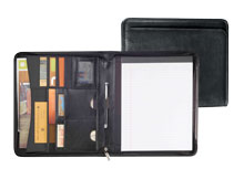 black pebble grain leather zippered padfolio