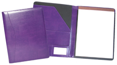 purple leather pad holders outside and inside view