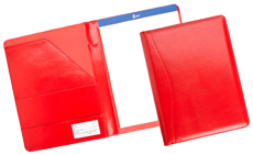 red bonded leather padfolios with writing pads