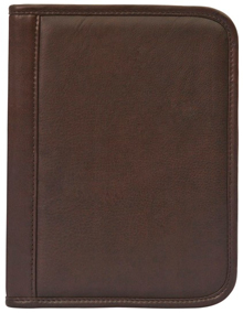 brown small cowhide leather padfolio front cover
