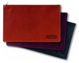 black, brown and Burgundy zippered leather portfolios