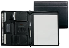 black leather zippered portfolio with calculator