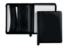 inside and outside views of zippered black vinyl folders